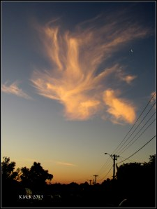 sunset cloud and quarter moon